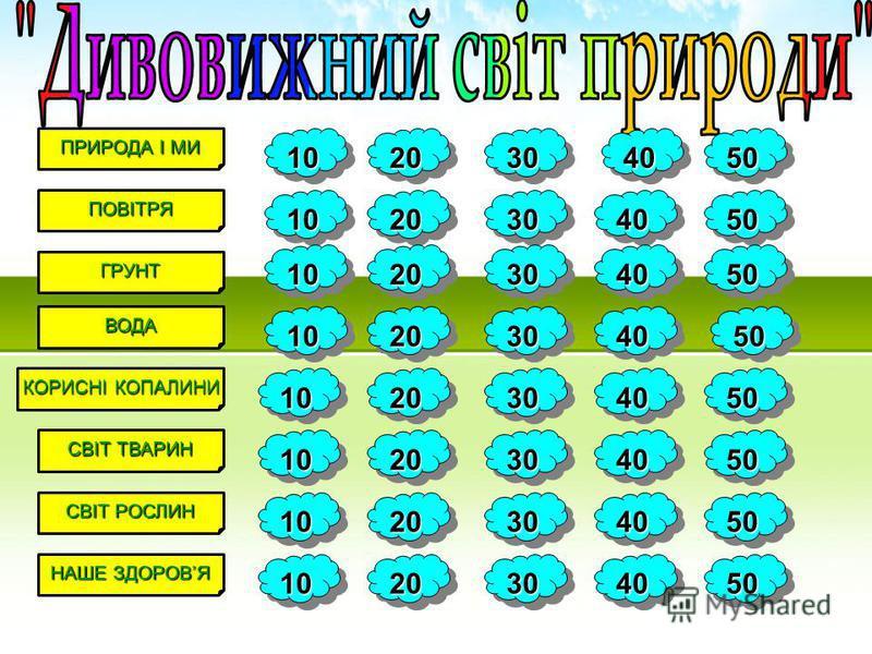 ПОВІТРЯ ГРУНТ ПРИРОДА І МИ ВОДА КОРИСНІ КОПАЛИНИ СВІТ ТВАРИН СВІТ РОСЛИН НАШЕ ЗДОРОВЯ 10 20 30 40 50