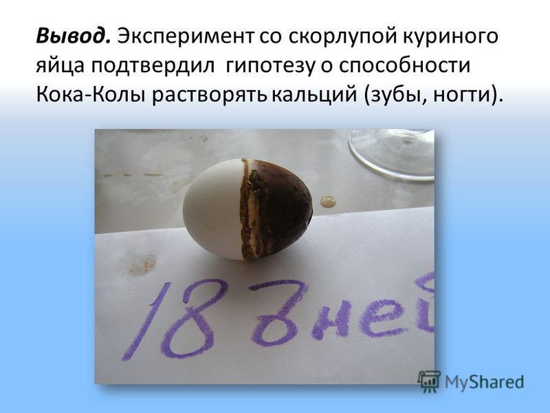 Вывод. Эксперимент со скорлупой куриного яйца подтвердил гипотезу о способности Кока-Колы растворять кальций (зубы, ногти).