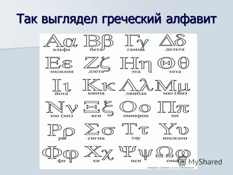 Так выглядел греческий алфавит