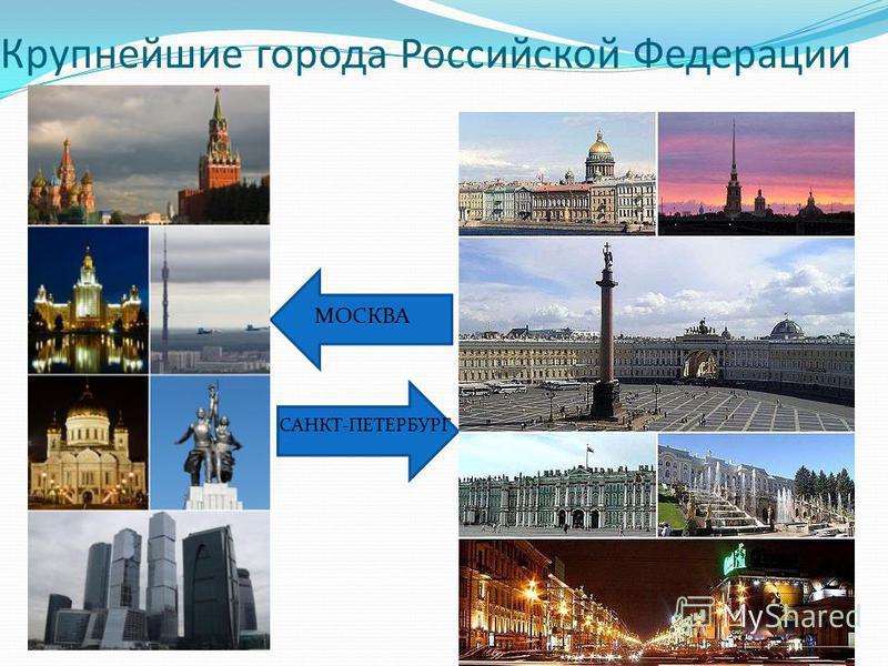 Крупнейшие города Российской Федерации МОСКВА САНКТ-ПЕТЕРБУРГ