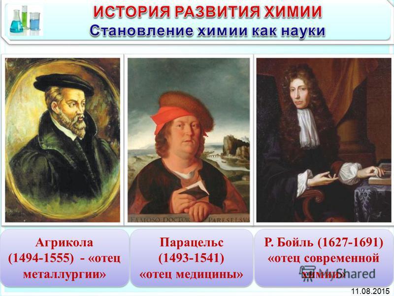 Парацельс (1493-1541) «отец медицины» Парацельс (1493-1541) «отец медицины» Агрикола (1494-1555) - «отец металлургии» Агрикола (1494-1555) - «отец металлургии» Р. Бойль (1627-1691) «отец современной химии» 11.08.2015