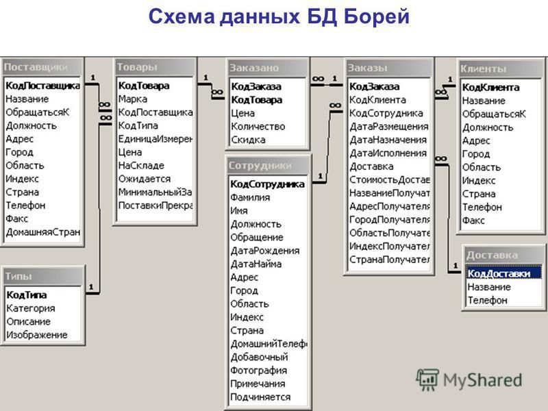 Схема данных БД Борей ( kafedra-it\общая )