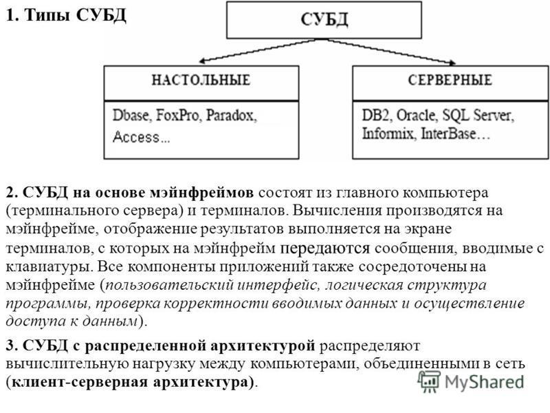 2. СУБД на основе мэйнфреймов состоят из главного компьютера (терминального сервера) и терминалов. Вычисления производятся на мэйнфрейме, отображение результатов выполняется на экране терминалов, с которых на мэйнфрейм передаются сообщения, вводимые