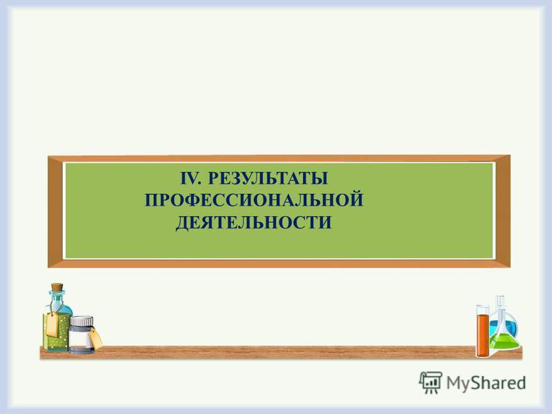IV. РЕЗУЛЬТАТЫ ПРОФЕССИОНАЛЬНОЙ ДЕЯТЕЛЬНОСТИ