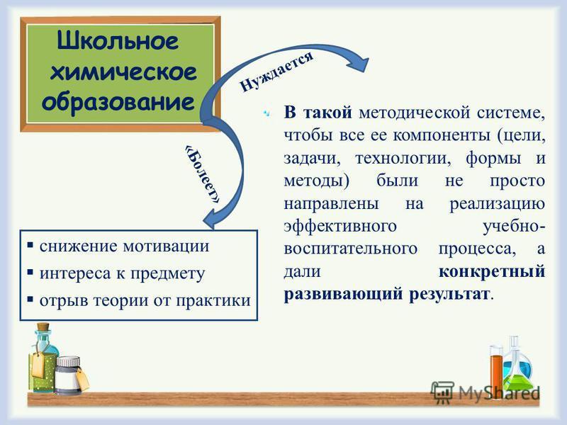Школьное химическое образование В такой методической системе, чтобы все ее компоненты (цели, задачи, технологии, формы и методы) были не просто направлены на реализацию эффективного учебно- воспитательного процесса, а дали конкретный развивающий резу