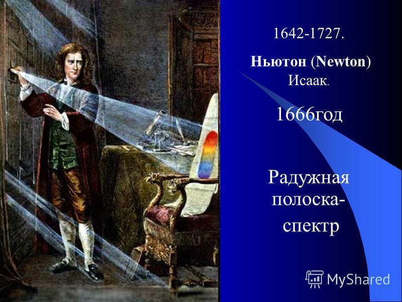 Ньютон Ньютон Ньютон Ньютон 1642-1727. Ньютон (Newton) Исаак. 1666 год Радужная полоска- спектр