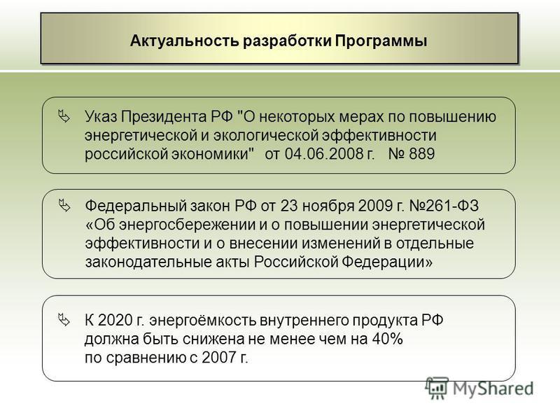 Актуальность разработки Программы Указ Президента РФ