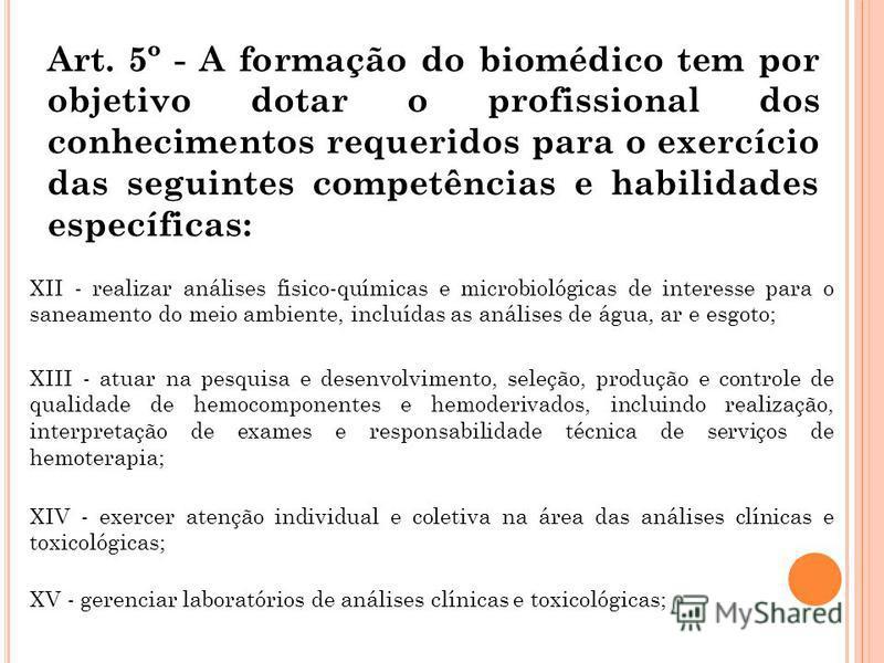 Art. 5º - A formação do biomédico tem por objetivo dotar o profissional dos conhecimentos requeridos para o exercício das seguintes competências e habilidades específicas: XII - realizar análises fisico-químicas e microbiológicas de interesse para o