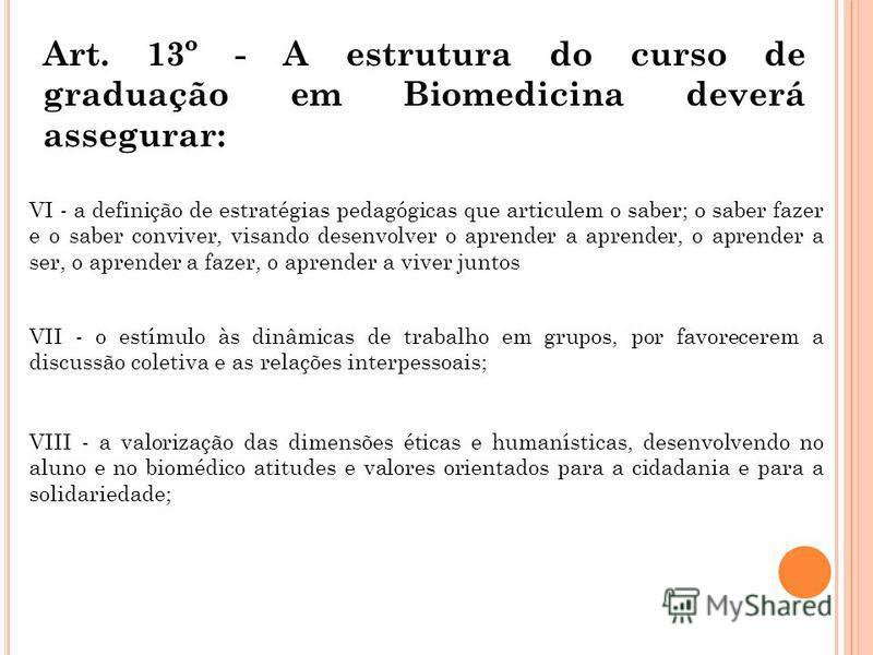 Art. 13º - A estrutura do curso de graduação em Biomedicina deverá assegurar: VI - a definição de estratégias pedagógicas que articulem o saber; o saber fazer e o saber conviver, visando desenvolver o aprender a aprender, o aprender a ser, o aprender