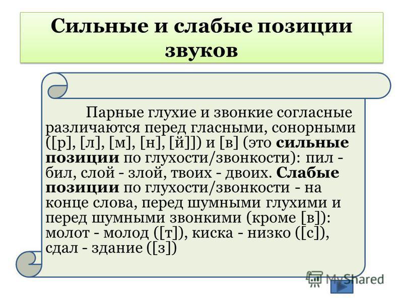 Сильные и слабые позиции звуков Парные глухие и звонкие согласные различаются перед гласными, сонорными ([р], [л], [м], [н], [й]]) и [в] (это сильные позиции по глухости/звонкости): пил - бил, слой - злой, твоих - двоих. Слабые позиции по глухости/зв