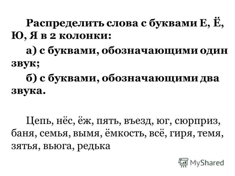 Распределить слова с буквами Е, Ё, Ю, Я в 2 колонки: а) с буквами, обозначающими один звук; б) с буквами, обозначающими два звука. Цепь, нёс, ёж, пять, въезд, юг, сюрприз, баня, семья, вымя, ёмкость, всё, гиря, темя, зятья, вьюга, редька