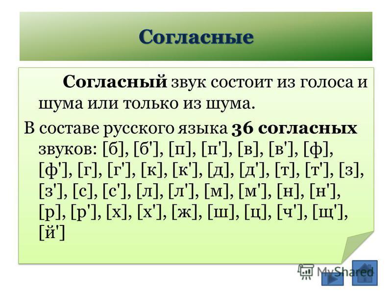 Согласный звук состоит из голоса и шума или только из шума. В составе русского языка 36 согласных звуков: [б], [б'], [п], [п'], [в], [в'], [ф], [ф'], [г], [г'], [к], [к'], [д], [д'], [т], [т'], [з], [з'], [с], [с'], [л], [л'], [м], [м'], [н], [н'], [