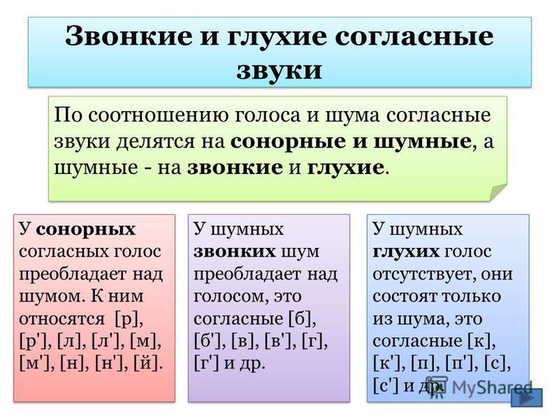 Звонкие и глухие согласные звуки По соотношению голоса и шума согласные звуки делятся на сонорные и шумные, а шумные - на звонкие и глухие. У сонорных согласных голос преобладает над шумом. К ним относятся [р], [р'], [л], [л'], [м], [м'], [н], [н'],