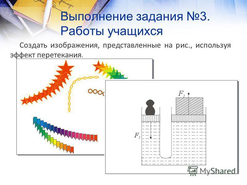 Выполнение задания 3. Работы учащихся Создать изображения, представленные на рис., используя эффект перетекания.