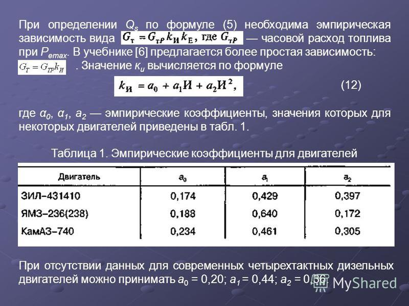 При определении Q s по формуле (5) необходима эмпирическая зависимость вида часовой расход топлива при Р этах. В учебнике [6] предлагается более простая зависимость:. Значение к и вычисляется по формуле (12) где α 0, α 1, a 2 эмпирические коэффициент