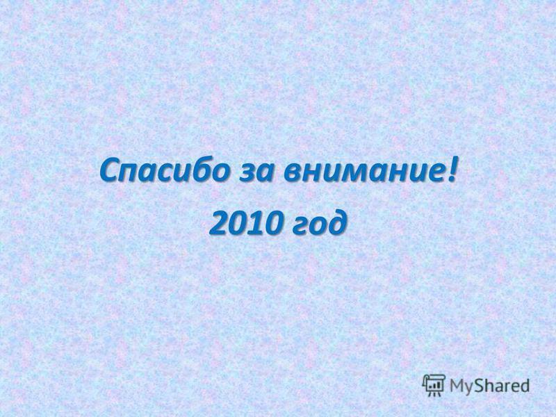 Спасибо за внимание! 2010 год