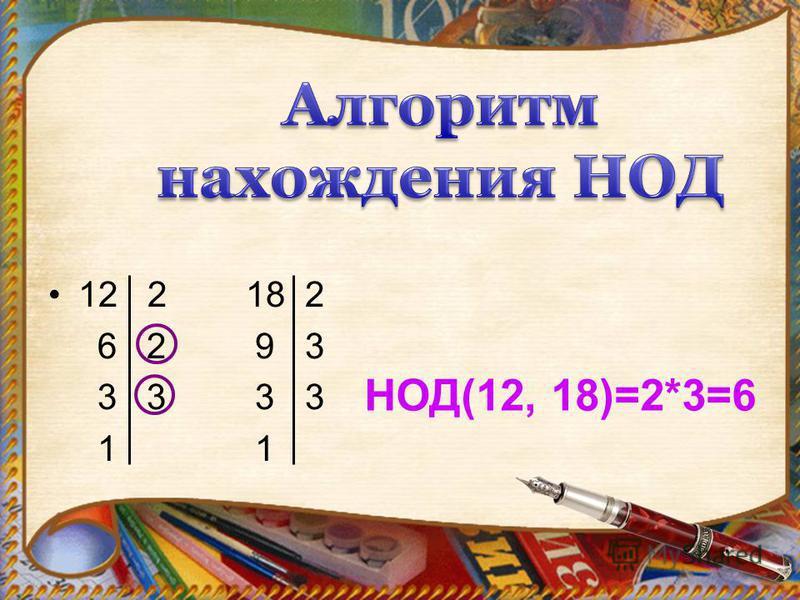 12 2 18 2 6 2 9 3 3 3 3 3 1 1 НОД(12, 18)=2*3=6