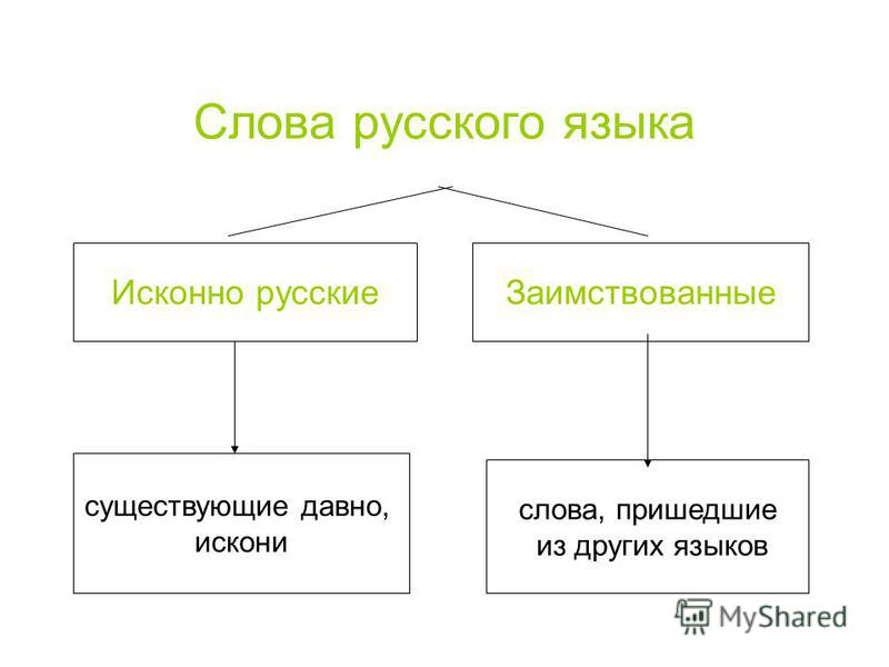 Слова русского языка Исконно русские Заимствованные существующие давно, искони слова, пришедшие из других языков