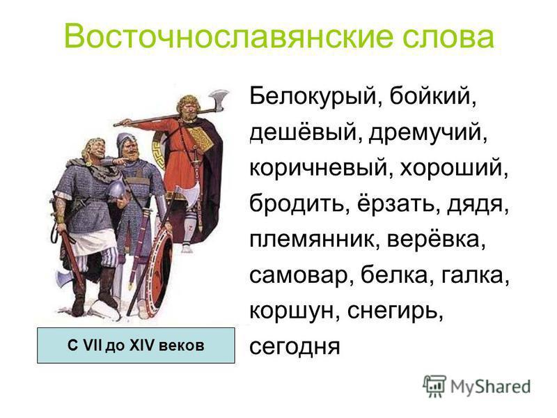 Восточнославянские слова Белокурый, бойкий, дешёвый, дремучий, коричневый, хороший, бродить, ёрзать, дядя, племянник, верёвка, самовар, белка, галка, коршун, снегирь, сегодня С VII до XIV веков