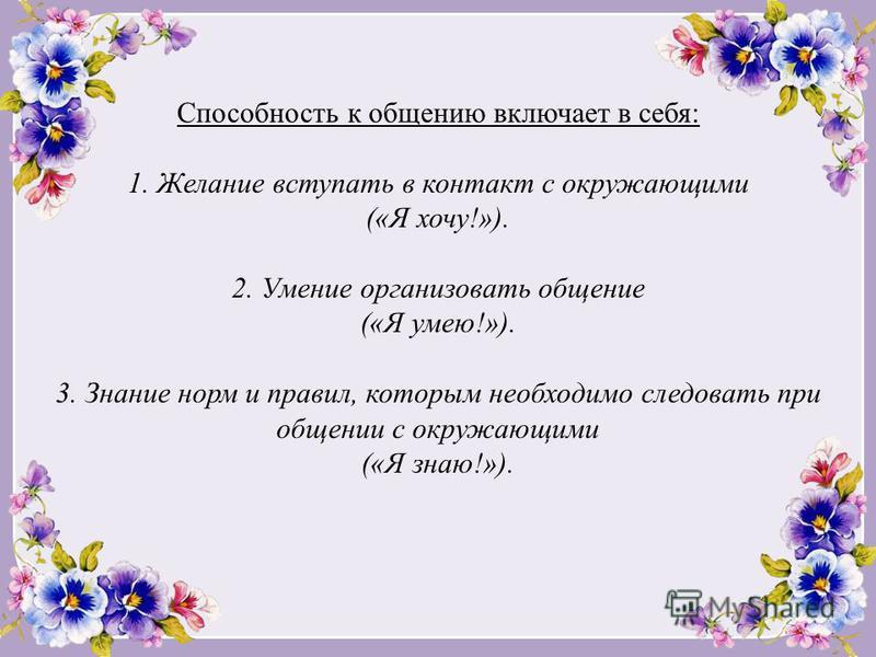 Способность к общению включает в себя: 1. Желание вступать в контакт с окружающими («Я хочу!»). 2. Умение организовать общение («Я умею!»). 3. Знание норм и правил, которым необходимо следовать при общении с окружающими («Я знаю!»).