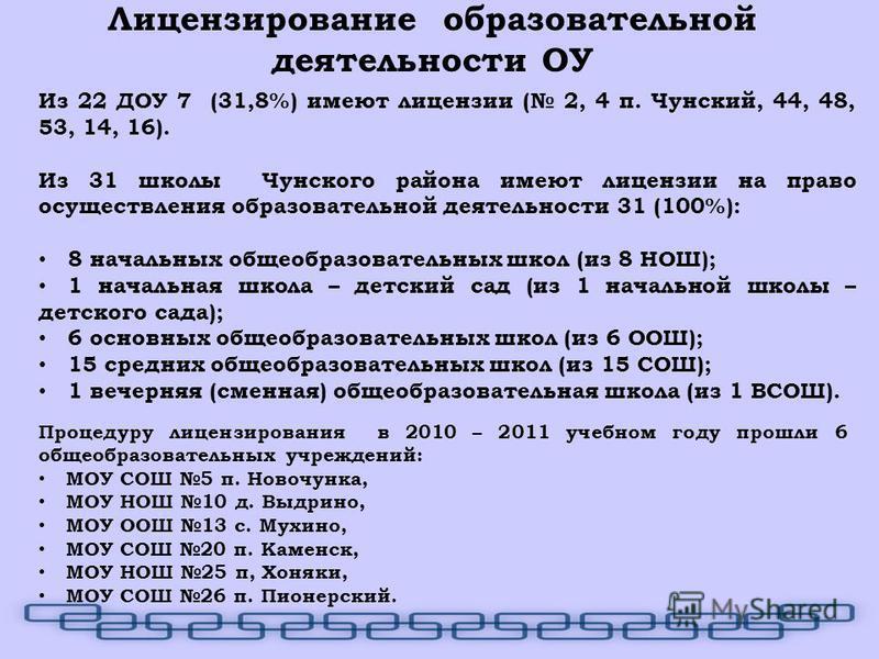 Из 22 ДОУ 7 (31,8%) имеют лицензии ( 2, 4 п. Чунский, 44, 48, 53, 14, 16). Из 31 школы Чунского района имеют лицензии на право осуществления образовательной деятельности 31 (100%): 8 начальных общеобразовательных школ (из 8 НОШ); 1 начальная школа –
