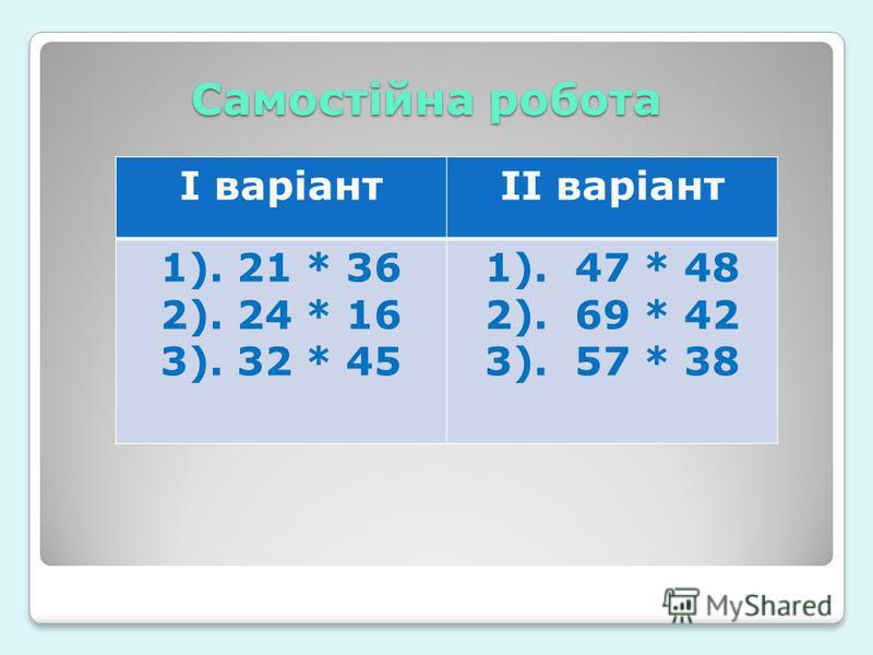 Самостійна робота І варіантІІ варіант 1). 21 * 36 2). 24 * 16 3). 32 * 45 1). 47 * 48 2). 69 * 42 3). 57 * 38