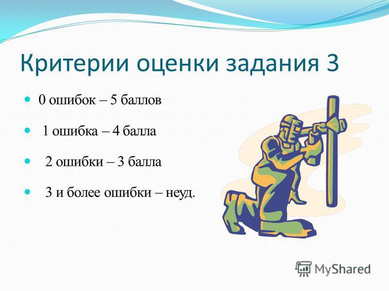 Критерии оценки задания 3 0 ошибок – 5 баллов 1 ошибка – 4 балла 2 ошибки – 3 балла 3 и более ошибки – неуд.