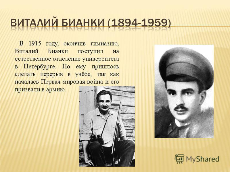 В 1915 году, окончив гимназию, Виталий Бианки поступил на естественное отделение университета в Петербурге. Но ему пришлось сделать перерыв в учёбе, так как началась Первая мировая война и его призвали в армию.