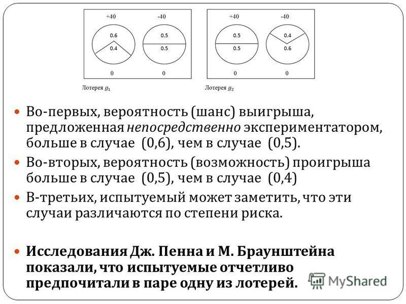 Во - первых, вероятность ( шанс ) выигрыша, предложенная непосредственно экспериментатором, больше в случае (0,6), чем в случае (0,5). Во - вторых, вероятность ( возможность ) проигрыша больше в случае (0,5), чем в случае (0,4) В - третьих, испытуемы