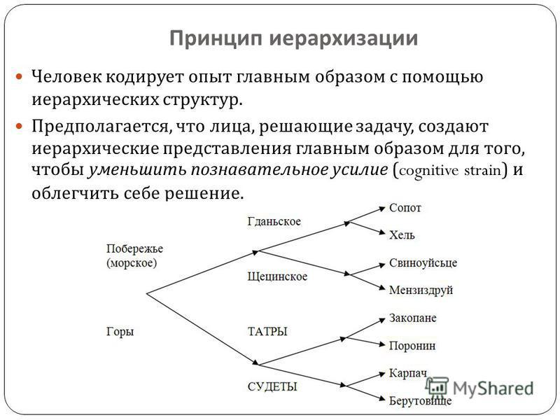 Принцип иерархизации Человек кодирует опыт главным образом с помощью иерархических структур. Предполагается, что лица, решающие задачу, создают иерархические представления главным образом для того, чтобы уменьшить познавательное усилие (cognitive str