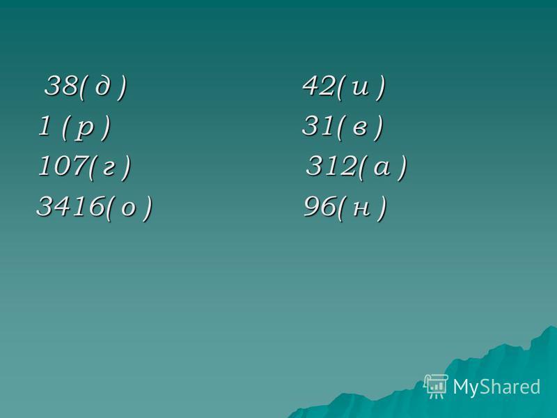 Не пора ли перекусить? Решите верно уравнения и прочитаете слово. 1)18m – 5=553 2)300 – 6k=48 3)67n=64324)y:56+2=63 5)5243:x – 3=46 6)7(x+6)=49 7)(x – 2):5=62 8) 100:(p+12)=2