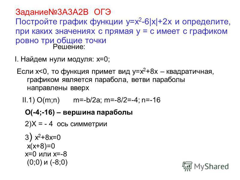 Задание 3А3А2В ОГЭ Постройте график функции y=x 2 -6|x|+2x и определите, при каких значениях с прямая у = с имеет с графиком ровно три общие точки Решение: I. Найдем нули модуля: х=0; Если х<0, то функция примет вид y=x 2 +8x – квадратичная, графиком