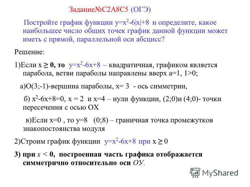 ЗаданиеС2А8С5 (ОГЭ) Постройте график функции y=x 2 -6|x|+8 и определите, какое наибольшее число общих точек график данной функции может иметь с прямой, параллельной оси абсцисс? Решение: 1)Если х 0, то y=x 2 -6 х+8 – квадратичная, графиком является п