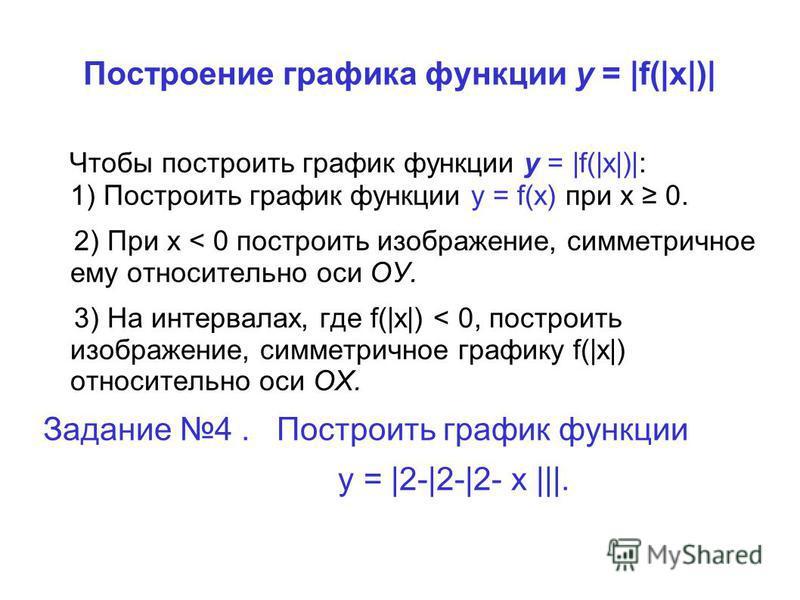 Построение графика функции у = |f(|x|)| Чтобы построить график функции у = |f(|x|)|: 1) Построить график функции у = f(x) при x 0. 2) При х < 0 построить изображение, симметричное ему относительно оси ОУ. 3) На интервалах, где f(|х|) < 0, построить и