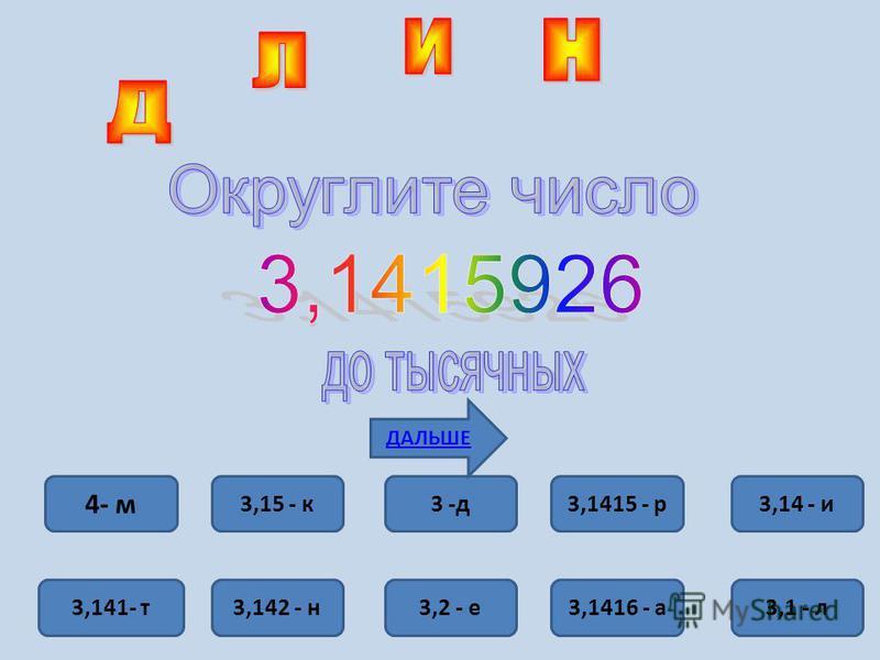 4- м 3,141- т 3,15 - к 3 -д 3,1415 - р 3,14 - и 3,1 - л 3,1416 - а 3,2 - е 3,142 - н ДАЛЬШЕ