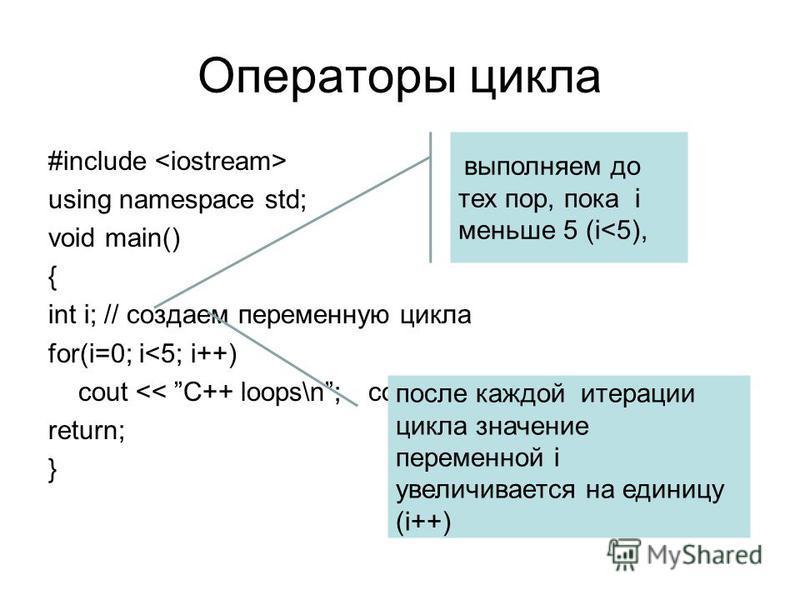 Операторы цикла #include using namespace std; void main() { int i; // создаем переменную цикла for(i=0; i<5; i++) cout << C++ loops\n;cout << Loops stop\n; return; } выполняем до тех пор, пока i меньше 5 (i<5), после каждой итерации цикла значение пе