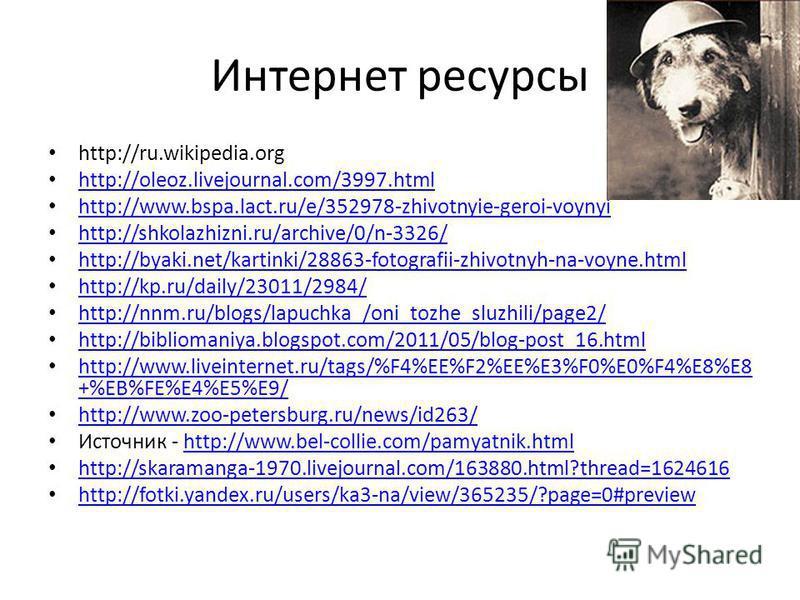 Интернет ресурсы http://ru.wikipedia.org http://oleoz.livejournal.com/3997. html http://www.bspa.lact.ru/e/352978-zhivotnyie-geroi-voynyi http://shkolazhizni.ru/archive/0/n-3326/ http://byaki.net/kartinki/28863-fotografii-zhivotnyh-na-voyne.html http