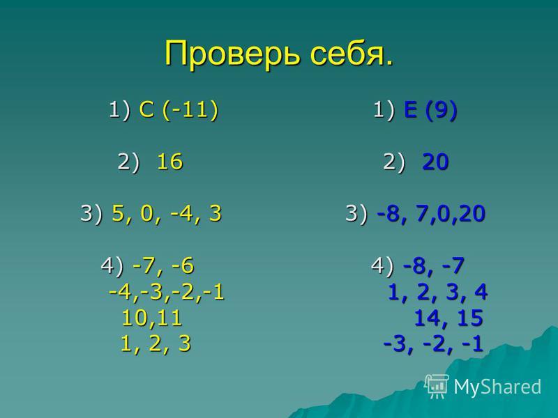 Проверь себя. 1) С (-11) 1) Е (9) 1) С (-11) 1) Е (9) 2) 16 2) 20 2) 16 2) 20 3) 5, 0, -4, 3 3) -8, 7,0,20 3) 5, 0, -4, 3 3) -8, 7,0,20 4) -7, -6 4) -8, -7 4) -7, -6 4) -8, -7 -4,-3,-2,-1 1, 2, 3, 4 -4,-3,-2,-1 1, 2, 3, 4 10,11 14, 15 10,11 14, 15 1,