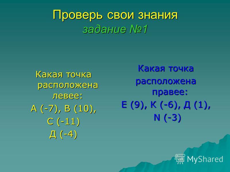 Проверь свои знания задание 1 Какая точка расположена левее: А (-7), В (10), С (-11) Д (-4) Какая точка расположена правее: Е (9), К (-6), Д (1), N (-3) N (-3)