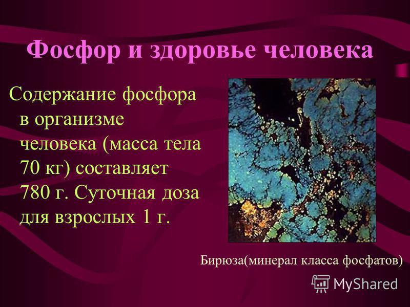 Фосфор и здоровье человека Содержание фосфора в организме человека (масса тела 70 кг) составляет 780 г. Суточная доза для взрослых 1 г. Бирюза(минерал класса фосфатов)