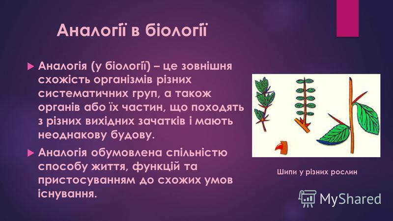 Аналогія (у біології) – це зовнішня схожість організмів різних систематичних груп, а також органів або їх частин, що походять з різних вихідних зачатків і мають неоднакову будову. Аналогія обумовлена спільністю способу життя, функцій та пристосування