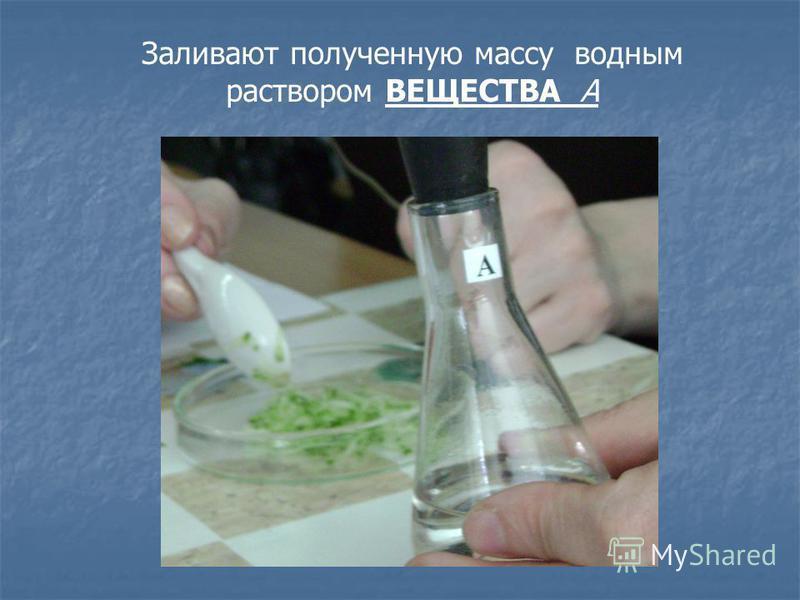 Заливают полученную массу водным раствором ВЕЩЕСТВА А