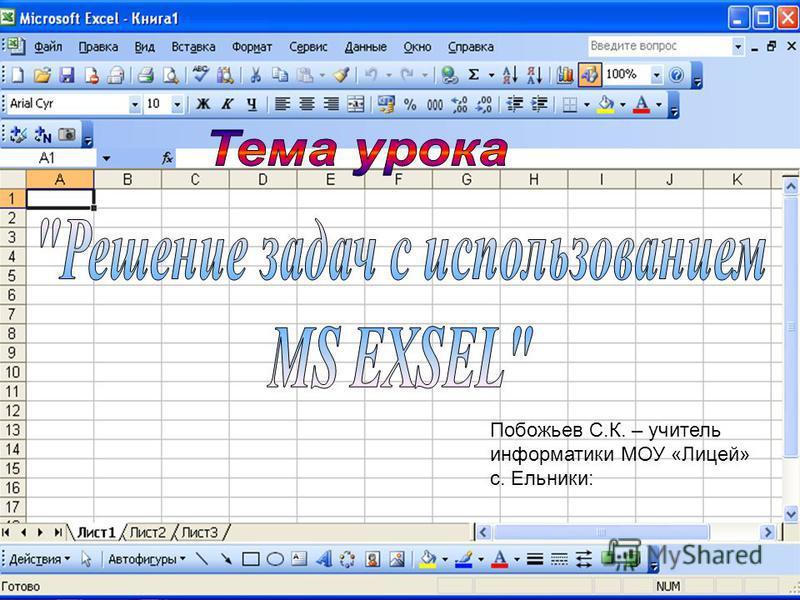 Побожьев С.К. – учитель информатики МОУ «Лицей» с. Ельники: