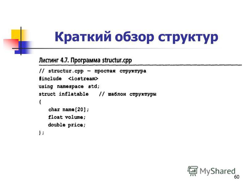 60 Краткий обзор структур