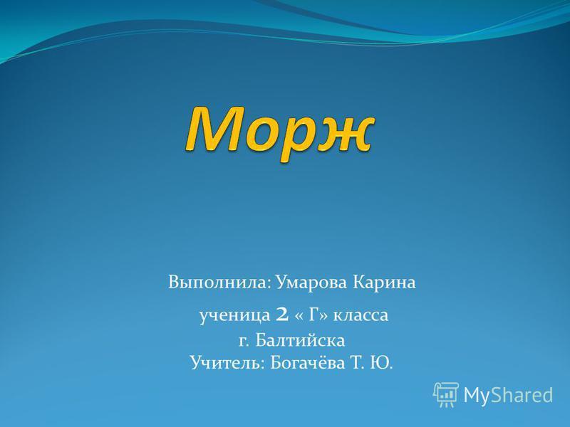 Выполнила: Умарова Карина ученица 2 « Г» класса г. Балтийска Учитель: Богачёва Т. Ю.