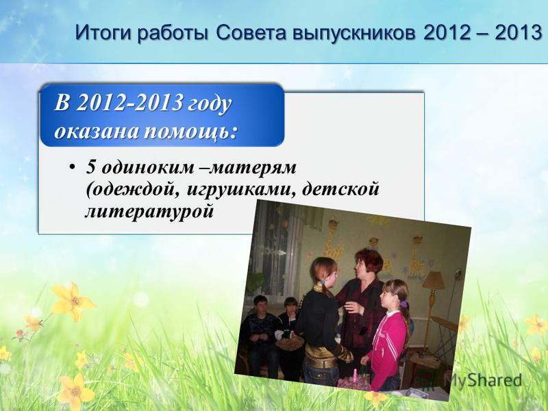Итоги работы Совета выпускников 2012 – 2013 5 одиноким –матерям (одеждой, игрушками, детской литературой В 2012-2013 году оказана помощь: