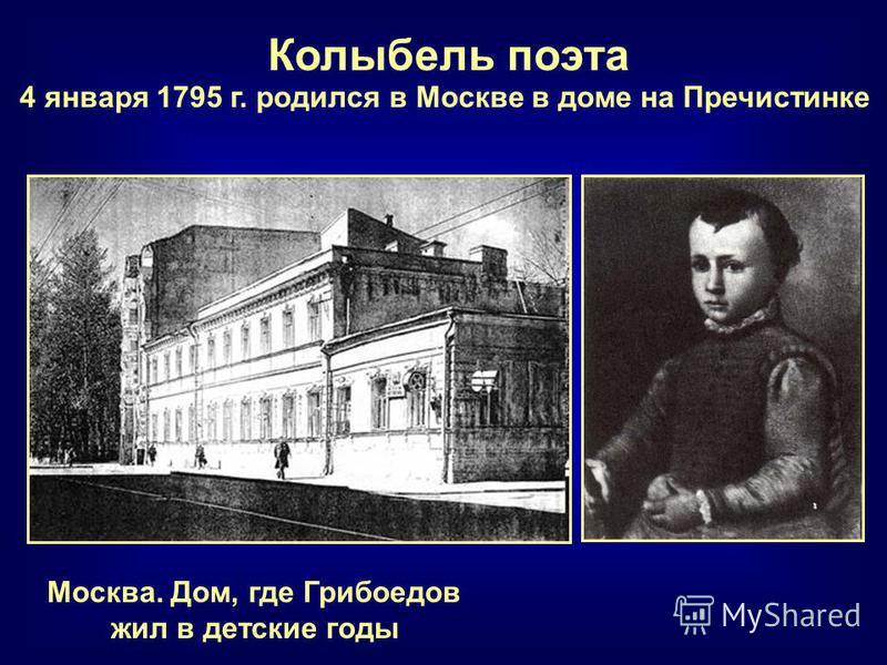 Москва. Дом, где Грибоедов жил в детские годы Колыбель поэта 4 января 1795 г. родился в Москве в доме на Пречистинке