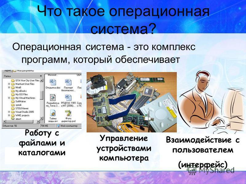Что такое операционная система? Операционная система - это комплекс программ, который обеспечивает Работу с файлами и каталогами Управление устройствами компьютера Взаимодействие с пользователем (интерфейс)