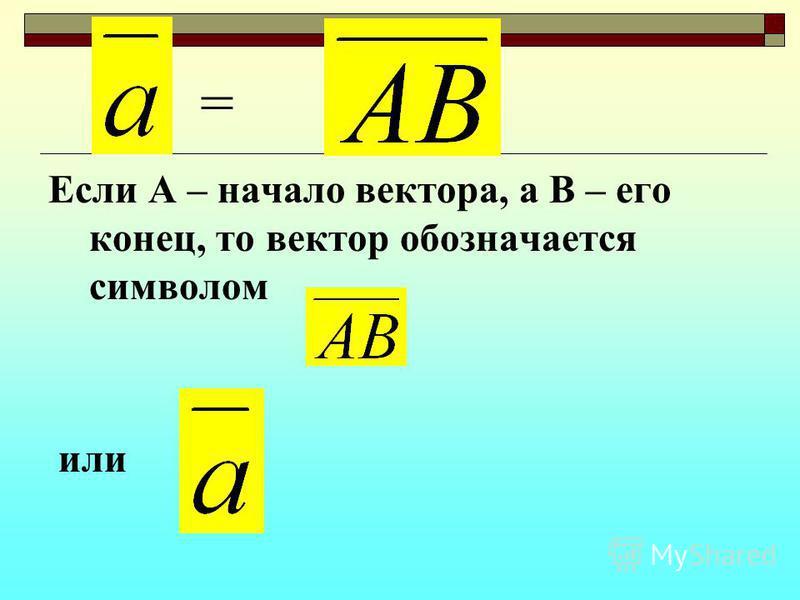 Если А – начало вектора, а В – его конец, то вектор обозначается символом или =