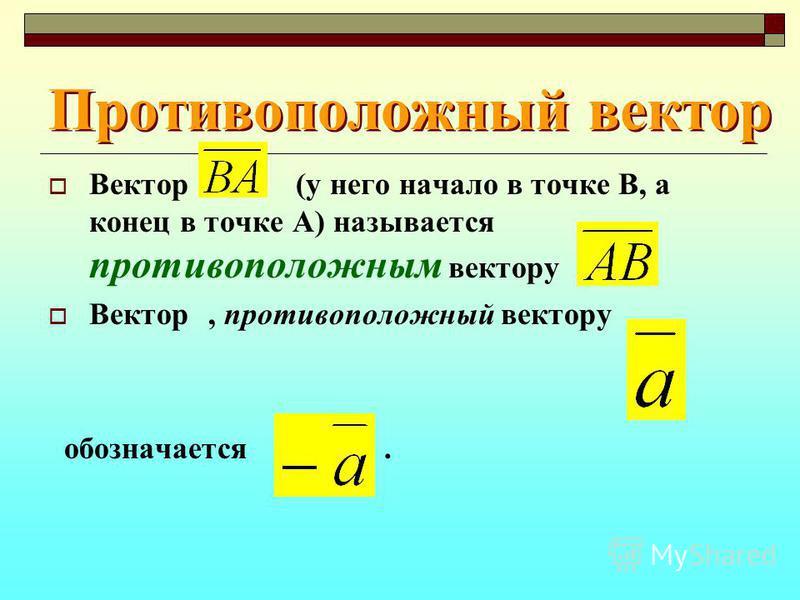 Противоположный вектор Вектор (у него начало в точке В, а конец в точке А) называется противоположным вектору. Вектор, противоположный вектору обозначается.